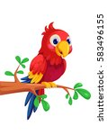 cute macaw cartoon sitting on... | Shutterstock .eps vector #583496155