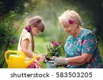 happy grandmother with her... | Shutterstock . vector #583503205