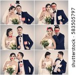 bride and bridegroom making... | Shutterstock . vector #583505797