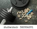 doping in sport. syringe and...   Shutterstock . vector #583506391