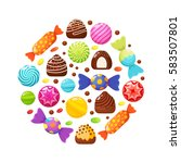 sweet candies flat icons set.... | Shutterstock .eps vector #583507801