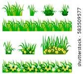 garden flowers set. chamomiles  ... | Shutterstock .eps vector #583509577