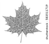 black and white maple leaf on... | Shutterstock .eps vector #583511719