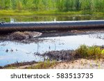 an accident on an oil pipeline. ... | Shutterstock . vector #583513735