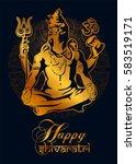 happy maha shivaratri. golden... | Shutterstock .eps vector #583519171