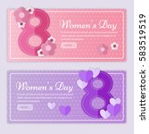 women's day banners. 8 march... | Shutterstock .eps vector #583519519