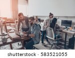 working together on project.... | Shutterstock . vector #583521055