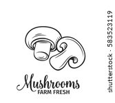 hand drawn mushrooms icon.... | Shutterstock .eps vector #583523119