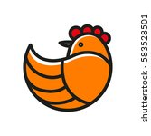 stylized chicken icon. vector... | Shutterstock .eps vector #583528501