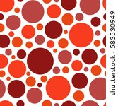 Stock vector color red circle chaotic pattern circle seamless pattern 583530949