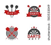 darts set labels sports emblem... | Shutterstock .eps vector #583533049