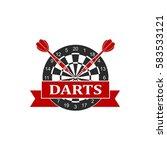 darts label sports emblem and... | Shutterstock .eps vector #583533121