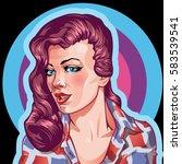 young woman vintage portrait ... | Shutterstock .eps vector #583539541