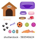 Stock vector dogs stuff icon set with accessories for pets flat style isolated on white background puppy toy 583540624