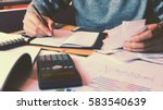 man calculate about cost and... | Shutterstock . vector #583540639