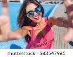 close up selfie portrait of... | Shutterstock . vector #583547965