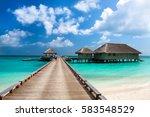 tropical maldives island resort ... | Shutterstock . vector #583548529