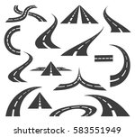 vector road icons. highways and ... | Shutterstock .eps vector #583551949