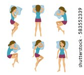 women sleeping positions vector ... | Shutterstock .eps vector #583552339