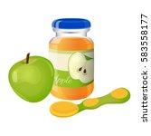 glass jar of orange puree with... | Shutterstock .eps vector #583558177
