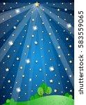 surreal landscape with big star ...   Shutterstock .eps vector #583559065