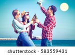 friends happy moments drinking...   Shutterstock . vector #583559431