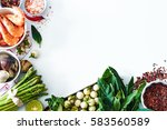 top view of light dinner... | Shutterstock . vector #583560589