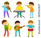 set of kids playing musical... | Shutterstock .eps vector #583561837