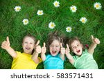 group of happy children playing ... | Shutterstock . vector #583571431
