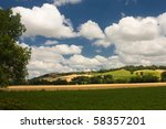 Scenic view on summer agricultural landscape in rural France - stock photo