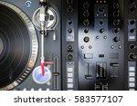 overhead shot of party dj audio ... | Shutterstock . vector #583577107