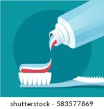 brushing teeth. closeup of... | Shutterstock .eps vector #583577869