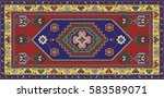 colorful mosaic oriental rug...   Shutterstock .eps vector #583589071