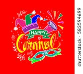 happy carnival festive concept  | Shutterstock .eps vector #583594699