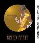 retro fashion  glamour girl of... | Shutterstock .eps vector #583594801