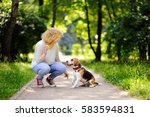 young beautiful woman playing...   Shutterstock . vector #583594831