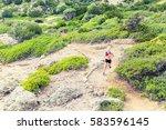 trail running woman cross... | Shutterstock . vector #583596145