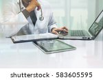 medicine doctor working with... | Shutterstock . vector #583605595