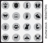 set of 16 editable nature icons.... | Shutterstock .eps vector #583607041