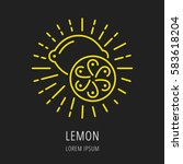 logo or label lemon. line style ... | Shutterstock .eps vector #583618204