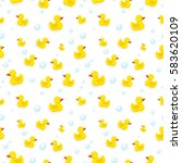 rubber duck and bubbles... | Shutterstock .eps vector #583620109