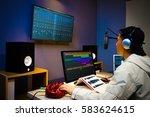 asian male dj working in... | Shutterstock . vector #583624615