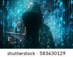 computer hacker with hoodie in... | Shutterstock . vector #583630129