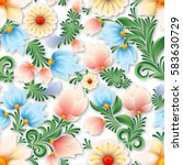 abstract spring seamless floral ... | Shutterstock .eps vector #583630729