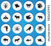 set of 16 editable zoo icons.... | Shutterstock .eps vector #583635991