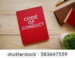 top view of notebook with word... | Shutterstock . vector #583647559