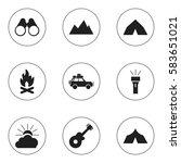 set of 9 editable travel icons. ... | Shutterstock .eps vector #583651021