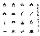 set of 16 editable camping...   Shutterstock .eps vector #583655239