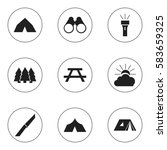 set of 9 editable trip icons.... | Shutterstock .eps vector #583659325