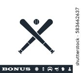 baseball icon flat. black... | Shutterstock .eps vector #583662637